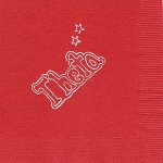 Napkin, Red, White Foil, Large Outline Theta w/stars, Kappa Alpha Theta