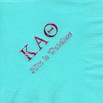 Theta Napkin, Aqua, Hot Pink Foil, Greek Letters, Alice in Thetaland