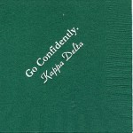 Kappa Delta dark green napkin, white foil, Go Confidently