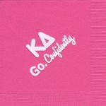 Napkin, Hot Pink, White Foil KD Greek and Go Confidently, Kappa Delta