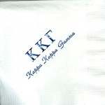 Napkin, White, Blue Foil Greek Letters, Font Park Ave, Kappa Kappa Gamma