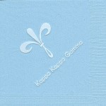 Napkins, Lt. Blue, White Foil fleur de lis, font special, Kappa kappa Gamma