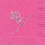 Kappa Kappa Gamma Napkin, Hot Pink, Silver Foil Crest, Font PA