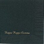 Kappa Kappa Gamma Napkin, Black, Gold Foil, Font PA
