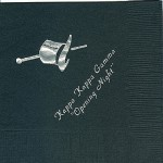 Kappa Kappa Gamma Napkin, Black, Silver Foil Hot Hat, Font PA