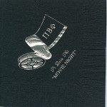 Pi Beta Phi Napkin, BlackSilver Foil, Movie Reel, Fonts  PA & Garamond
