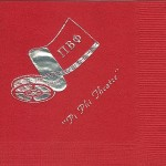 Pi Beta Phi Napkin, Red Silver Foil, Movie Reel, Font  PA