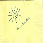 Napkin, Yellow, Blue  Foil Sunshine.  Font Garmond , Pi Beta Phi
