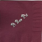 Napkin, color discontinued, Silver Foil, Pi Beta Phi Curly