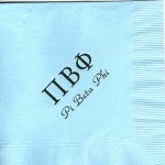 Napkin, Lt. Blue, Black Foil. Greek, Font Park Avenue, Pi Beta Phi