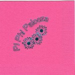 Napkin, Hot Pink, Teal Foil, Pi Beta Phi