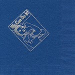 Napkin, Dark Blue, Silver Foil, We can Do It