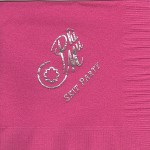 Napkin, Hot Pink, Silver Foil Nat'l Office Logowith Skit Party, Phi Mu