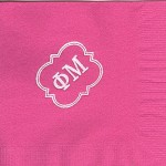 Napkin, Hot Pink, White Foil, Special Greek Letters, Phi Mu