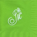 Napkin, Lime, White Foil Nat'l Office Logo, Phi Mu