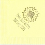 Napkins, Yellow, Gold Foil Sunflower, Font Special, Zeta Tau Alpha
