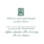 One color raised ink flat card, green ink, Bid card, Font #9, Alpha Epsilon Phi
