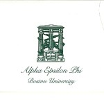 One-color raised ink fold-over card, green ink, font #9, Alpha Epsilon Phi