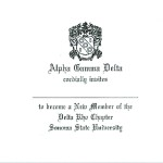 1-color ink flat panel card, Black thermography raised print, Font #10, Alpha Gamma Delta
