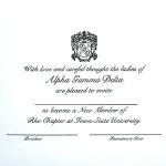 1-color ink flat panel card, Black thermography raised print, Font #9, Alpha Gamma Delta
