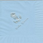 Napkin, Light Blue, Silver Foil Anchor (pin), Font PA, Delta Gamma