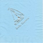 Napkin, Light Blue, Silver Sailboat & Delta Gamma, Delta Gamma