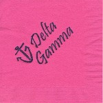 Napkin, Hot Pink, Blue Ink Anchor (contemp), Delta Gamma