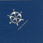 Napkin, Dark Blue, Silver Foil Ship's Wheel, Delta Gamma