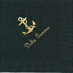Napkin, Black, Gold Foil Anchor (nat), Font #11, Delta Gamma