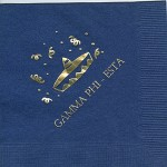 Napkin, Dark Blue, Gold Foil sombrero, Font Garamond all Caps, Gamma Phi Beta