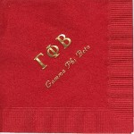 Napkin, Red, Gold Foil Greek Letters, Font PA, Gamma Phi Beta
