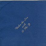 Napkin, Dark Blue, Gold Foil Under the Sea, Font PA, Gamma Phi Beta
