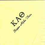 Napkin, Yellow, Black Foil Greek Letters, Font Park Ave, Kappa Alpha Theta