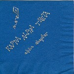 Theta Napkin, Alpha Chapter,.Royal (discontinued), Gold Foil Kite,Font Bubble