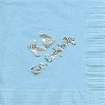 Napkin, Light Blue, Silver Foil Greek and Go Confidently, Font Special, Kappa Delta