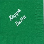 Napkin, color discontinued, White Foil  Bubble Lettering Kappa Delta