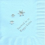 Napkin, color discontinued, Silver Foil Snowflake, Font Garamond, Kappa Dleta