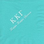 Napkin, Aqua, White Foil Greek Letters, Font PA, Kappa Kappa Gamma