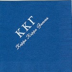Napkin, Dark Blue, White Foil Greek Letters, Font PA, Kappa Kappa Gamma