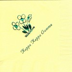 Napkin, Yellow, Green Foil Flowers, Font PA, Kappa Kappa Gamma