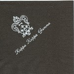 Napkin, Brown, White Foil Crest, Font PA, Kappa Kappa Gamma