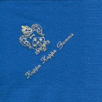 Napkin, Royal Blue, Gold Foil Crest, Font PA, Kappa Kappa Gamma