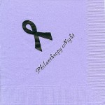 Lavender Napkin, Purple Foil Breast Cancer Ribbon, Font PA