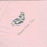 Napkin, pink, silver foil mask, font PA