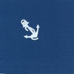 Napkin, Navy, White Foil Anchor
