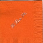 Napkin, Orange, Silver Foil, Font #8 Large, Pi Beta Phi