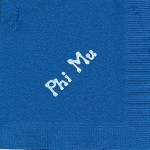 Napkin, color discontinued, White Foil Phi Mu, Font: Bubble Lettering, Phi Mu