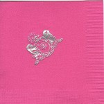 Napkin, Hot Pink, Silver Foil Crest only, Phi Mu