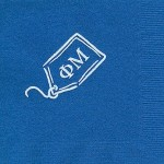 Napkin, Royal Blue, White Foil Luggage Tag, Phi Mu