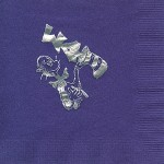 Napkin, Purple, Silver Foil Cat in Hat, Sigma Delta Tau